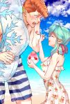1boy 1girl :d beach blue_hair blue_sky blush brown_hair closed_eyes clouds collarbone couple dress floral_print from_side hair_ribbon height_difference holding holding_spoon imuro innertube kuwabara_kazuma lens_flare long_hair looking_at_another ocean open_mouth print_dress profile red_ribbon ribbon shaved_ice shiny shiny_hair sky sleeveless sleeveless_dress smile spoon striped striped_swimsuit sundress swimsuit transparent twitter_username white_dress yukina_(yuu_yuu_hakusho) yuu_yuu_hakusho