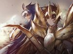 2boys arfrtai armor blue_hair brown_hair full_armor gemini_saga gold_armor gold_saint headgear long_hair male_focus multiple_boys sagittarius_aioros saint_seiya short_hair spiky_hair wings