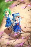 2girls :d :o ankle_socks arms_behind_back black_footwear blue_dress blue_eyes blue_hair blue_skirt blue_vest blurry blurry_background blurry_foreground bow brown_footwear cherry_blossoms cirno commentary_request cravat daiyousei day dirt_road dress fairy_wings from_above full_body grass green_eyes green_hair hair_bow hand_to_forehead highres looking_to_the_side multiple_girls nogiguchi one_side_up open_mouth outdoors pinafore_dress puffy_short_sleeves puffy_sleeves red_neckwear road shadow shirt short_hair short_sleeves skirt smile standing touhou tree_branch vest white_legwear white_shirt wings yellow_neckwear