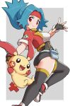 1girl ass blue_hair blush breasts capture_styler closed_mouth commentary_request cropped_jacket eyelashes fingerless_gloves gen_3_pokemon gloves gonzarez headband highres holding jacket long_hair looking_at_viewer open_clothes open_jacket plusle pokemon pokemon_(creature) pokemon_ranger pokemon_ranger_1 red_eyes red_headband red_jacket shirt shoes short_sleeves smile solana_(pokemon) spread_fingers thigh-highs white_shirt