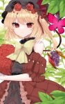 1girl absurdres alternate_costume bangs bare_shoulders black_headwear bouquet bow bowtie brown_dress bug butterfly closed_mouth cowboy_shot cross-laced_footwear crystal dress eyebrows_visible_through_hair flandre_scarlet flower food fruit grapes hat highres holding holding_bouquet insect leaf mob_cap red_butterfly red_eyes red_flower red_rose rori82li rose side_ponytail simple_background smile solo standing touhou white_background wings yellow_bow yellow_neckwear