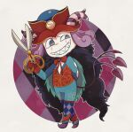 1boy adenade argyle argyle_background argyle_legwear blue_eyes blue_lips cape center_opening chibi clock colored_skin curly_hair demon_boy fate/grand_order fate_(series) fur-trimmed_cape fur_collar fur_trim grin hat headpiece high_heels highres holding holding_scissors horns makeup male_focus medium_hair mephistopheles_(fate) multicolored multicolored_eyes multiple_tails pale_skin pantyhose purple_background purple_hair scissors sharp_teeth smile solo tail teardrop teeth thick_eyebrows tri_tails unzipped violet_eyes white_background white_skin