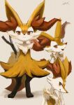1girl :3 animal_ear_fluff animal_ears animal_nose arms_behind_back artist_name beige_background black_fur blush body_fur braixen closed_mouth commentary fang flat_chest fox_ears fox_girl fox_tail from_side full_body furry gen_6_pokemon hand_on_own_face hand_up happy highres ikei licking_lips light_blush looking_at_viewer looking_to_the_side multiple_views open_mouth paws pokemon pokemon_(creature) profile red_eyes signature simple_background sketch skin_fang smile snout standing straight-on tail tongue tongue_out upper_body white_fur yellow_fur