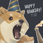absurdres animal artist_name black_eyes candle dog english_commentary english_text fangs fire flame grey_background hat highres no_humans open_mouth original party_hat shiba_inu skyler solo sparkle tongue