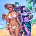 4girls arm_tattoo armlet armpits ashe_(overwatch) bag beach bikini black_hair blue_bikini blue_sky bob_(overwatch) breasts brigitte_(overwatch) carrying colored_skin cote_d'azur_widowmaker d.va_(overwatch) day earrings english_commentary front-tie_bikini front-tie_top green_eyes handbag hat highres hoop_earrings humanoid_robot jewelry krystopher_decker leg_tattoo lips medium_breasts mismatched_eyebrows mole mole_above_mouth mole_on_body multiple_girls navel navel_piercing nose ocean official_alternate_costume omnic overwatch piercing pubic_tattoo purple_lips purple_skin realistic red_eyes running sandals_removed sarong side-tie_bikini sky small_breasts stomach_tattoo striped summer sun_hat sunglasses swimsuit tan tattoo thick_eyebrows thigh_gap toned walking white-framed_eyewear white_bikini white_hair widowmaker_(overwatch)