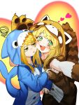 2girls absurdres alternate_costume animal_costume blonde_hair eyebrows_visible_through_hair feet_out_of_frame grand_admiral_marina green_eyes grin guardian_tales heart highres jiki_(gkdlfnzo1245) knight_lady_lapice multiple_girls multiple_views open_mouth shark_costume simple_background smile tanuki_costume