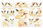 >_< alternate_color blue_eyes crying flareon gen_1_pokemon green_eyes heart highres jolteon moco_font no_humans o_o one_eye_closed partially_colored paws pokemon pokemon_(creature) shiny_pokemon spoken_heart standing tears toes translation_request