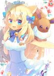 1girl :d animal_ear_fluff animal_ears bangs bell blonde_hair blue_bow blue_eyes blue_skirt blush bow breasts brown_eyes cat_ears commentary_request eevee eevee_snow eyebrows_visible_through_hair flower frilled_skirt frills gen_1_pokemon hair_between_eyes hair_bow hair_ornament hairclip hand_up high-waist_skirt index_finger_raised indie_virtual_youtuber jingle_bell kouu_hiyoyo long_hair maid_headdress medium_breasts namesake open_mouth pokemon pokemon_(creature) red_flower shirt skirt smile striped striped_background two_side_up vertical_stripes very_long_hair virtual_youtuber white_shirt wrist_cuffs