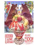 bear bird blush cream cup dessert eating english_text food food_focus fruit glass highres ice_cream lizard momiji_mao mouse no_humans original parrot raspberry signature sparkle