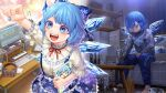 1girl alcohol barefoot blue_eyes blue_nails blue_skirt book box capelet cirno clenched_hand computer dual_persona headphones highres holding holding_book ice ice_wings instrument keyboard_(computer) keyboard_(instrument) koufukutei_yumeko long_sleeves monitor pants red_neckwear shelf shirt short_hair short_sleeves sitting skirt speaker sweatpants sweatshirt table touhou wings