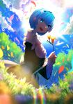 1girl 38_(sanjuuhachi) :d absurdres armpit_crease bangs black_dress black_neckwear black_ribbon blue_eyes blue_hair blush breasts chromatic_aberration clouds day detached_sleeves dress eyes_visible_through_hair flower forest frilled_sleeves frills from_below from_side glowing glowing_eyes grass hair_ornament hair_over_one_eye hair_ribbon hands_up happy highres holding holding_flower lens_flare lily_(flower) long_sleeves looking_at_viewer looking_down looking_to_the_side maid nature open_mouth orange_flower outdoors petals pink_ribbon rainbow re:zero_kara_hajimeru_isekai_seikatsu rem_(re:zero) ribbon roswaal_mansion_maid_uniform short_hair sidelocks sky small_breasts smile solo sun swept_bangs tree upper_teeth wide_sleeves wind x_hair_ornament