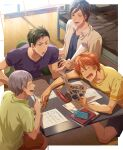 4boys ^_^ ^o^ barefoot bed bedroom blue_shirt blue_shorts blush border brown_hair butterfly_sitting closed_eyes collarbone collared_shirt english_text eraser free! from_above green_eyes green_pants grey_hair highres holding holding_paper holding_pencil homework indoors laughing lecturing looking_at_another male_focus mechanical_pencil mikoshiba_momotarou minami_kazuki multiple_boys nitori_aiichirou open_mouth orange_hair orange_shorts outside_border pants paper pencil pencil_case purple_shirt scolding seiza shirt shirt_under_shirt shorts sitting sitting_on_floor smile spiky_hair studying t-shirt table tearing_up textbook toned toned_male translation_request undershirt uozumi_takuya v-shaped_eyebrows violet_eyes white_border white_shirt window wooden_floor yellow_shirt zattape