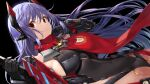 1girl android black_background black_gloves breasts brown_hair commentary commentary_request covered_navel gloves headpiece joints large_breasts leotard long_hair looking_at_viewer poppi_(xenoblade) poppi_qtpi_(xenoblade) purple_hair red_scarf robot_joints scarf sideboob solo sword weapon xenoblade_chronicles_(series) xenoblade_chronicles_2 yappen