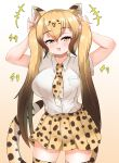 +++ 1girl akaisuto alternate_hairstyle animal_ears animal_print arms_up bangs bare_arms blonde_hair breast_pocket brown_hair cat_girl cheetah_(kemono_friends) cheetah_ears cheetah_girl cheetah_print cheetah_tail collared_shirt commentary_request extra_ears eyebrows_visible_through_hair fang fingernails gradient_hair hair_between_eyes half-closed_eyes highres holding holding_hair kemono_friends long_hair looking_at_viewer miniskirt multicolored_hair nail_polish necktie open_mouth pleated_skirt pocket print_legwear print_neckwear print_skirt shirt short_sleeves skirt smile solo tail thigh-highs twintails two-tone_hair very_long_hair white_shirt wing_collar yellow_eyes zettai_ryouiki