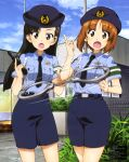 2girls absurdres belt black_hair black_neckwear blue_shirt blue_skirt blue_sky breast_pocket brown_hair building clouds collared_shirt cuffs day eyebrows_visible_through_hair fence girls_und_panzer gun handcuffs handgun highres holding holding_gun holding_weapon long_hair mc_axis multiple_girls necktie nishi_kinuyo nishizumi_miho official_art open_mouth outdoors pistol pocket police police_uniform policewoman revolver scan shirt short_hair short_sleeves skirt sky spinning standing surprised trigger_discipline uniform weapon window