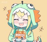 1girl amano_pikamee blonde_hair blush_stickers chibi controller dinosaur_hood green_hair green_hoodie green_nails holding holding_controller hood hoodie kukie-nyan low_twintails multicolored_hair open_mouth orange_background sharp_teeth simple_background solo teeth twintails twitter_username virtual_youtuber voms