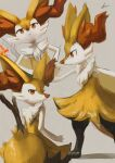 1girl animal_ear_fluff animal_ears animal_nose artist_name black_fur blush body_fur braixen closed_mouth commentary flat_chest fox_ears fox_girl fox_tail from_behind from_side furry gen_6_pokemon grey_background hands_on_hips highres ikei jpeg_artifacts light_blush looking_at_viewer looking_back multiple_views paws pokemon pokemon_(creature) profile red_eyes signature simple_background sketch snout standing stick tail upper_body white_fur yellow_fur