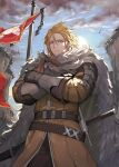 1boy armor banner belt blonde_hair cape cliff clouds cloudy_sky coat crossed_arms english_commentary fur-trimmed_cape fur_trim gauntlets hair_between_eyes highres jun_(seojh1029) looking_at_viewer original outdoors pole sheath sheathed short_hair sky solo sword weapon