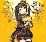 1girl buzz cake cake_slice earrings flower food fruit gloves hat hat_ribbon highres idolmaster idolmaster_cinderella_girls jewelry lace-trimmed_sleeves lace_trim leaf lemon lemon_slice long_sleeves nakano_yuka name_tag rhombus_background ribbon ribbon-trimmed_collar ribbon_trim shorts solo striped_jacket teapot twintails yellow_background