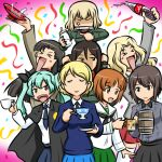 >_< 6+girls :d anchovy_(girls_und_panzer) anger_vein angry animal_print anzio_school_uniform arm_up bangs bear_print beer_mug birthday black_cape black_neckwear black_ribbon black_skirt blazer blonde_hair blouse blue_skirt blue_sweater bob_cut boko_(girls_und_panzer) bottle braid brown_eyes brown_hair cape carrying closed_eyes closed_mouth coca-cola coffee_cup coffee_mug confetti cup darjeeling_(girls_und_panzer) disposable_cup dress_shirt drill_hair facing_viewer frown girls_und_panzer green_hair green_jacket green_skirt grey_jacket grey_shirt grimace hair_intakes hair_ribbon holding holding_bottle holding_cup holding_saucer jacket katyusha_(girls_und_panzer) kay_(girls_und_panzer) kogane_(staygold) kuromorimine_school_uniform long_hair long_sleeves looking_at_another lowres miniskirt mug multiple_girls neckerchief necktie nishi_kinuyo nishizumi_maho nishizumi_miho nonna_(girls_und_panzer) odd_one_out ooarai_school_uniform open_mouth pleated_skirt pravda_school_uniform red_eyes red_shirt red_skirt ribbon sailor_collar sakazuki saucer saunders_school_uniform school_uniform serafuku shirt short_hair shoulder_carry siblings sisters skirt smile soda_bottle spilling st._gloriana's_school_uniform standing streamers sweater teacup thigh-highs tied_hair turtleneck twin_braids twin_drills twintails v-neck white_blouse white_legwear white_sailor_collar white_shirt wing_collar xd