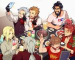 6+boys :d beard black_gloves black_hair black_vest blonde_hair brown_hair character_request chopsticks closed_eyes cup drinking_glass drinking_straw eating edward_teach_(fate) facial_hair fate/grand_order fate_(series) food gloves goatee gradient_hair grey_hair hector_(fate) indoors james_moriarty_(fate) li_shuwen_(fate) male_focus meat messy_hair multicolored_hair multiple_boys mustache old old_man open_mouth orange_neckwear plate red_shirt selfie shirt smile t-shirt table taking_picture tia_(cocorosso) tongs v vest vlad_iii_(fate/apocrypha) white_shirt