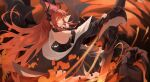 1girl absurdres arknights armband bangs black_dress black_jacket blood blood_on_face bloody_hands breasts commentary dress flaming_eye from_above from_behind halter_dress halterneck highres holding holding_sword holding_weapon horns jacket long_hair looking_at_viewer looking_back medium_breasts redhead rui_(rei_leyi) sidelocks sleeveless sleeveless_dress solo standing surtr_(arknights) sword very_long_hair violet_eyes weapon