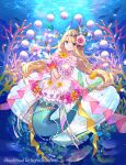 1girl air_bubble blonde_hair blue_eyes bottle bubble bushiroad character_request clothing_cutout coral cross-laced_clothes dress fish flower frilled_skirt frills fuzichoco gloves hair_flower hair_ornament lace-trimmed_skirt lace_trim long_hair looking_at_viewer mermaid monster_girl navel pearl_(gemstone) perfume_bottle pink_sash puffy_short_sleeves puffy_sleeves sash scrunchie short_sleeves skirt smile solo stomach_cutout underwater very_long_hair white_dress white_gloves wrist_scrunchie