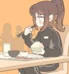 1girl black_track_suit bowl brown_hair chair chopsticks eating feet_out_of_frame food gashi-gashi jacket long_hair long_sleeves original ponytail rice sitting solo table track_jacket track_suit white_eyes