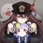 2girls bead_necklace beads black_nails brown_hair chinese_clothes closed_eyes earrings fingers genshin_impact ghost hands hat highres hu_tao jewelry jiangshi looking_at_viewer multiple_girls nail_polish necklace purple_hair qiqi_(genshin_impact) red_eyes ring smile symbol-shaped_pupils teeth twintails violet_eyes zaregotoneko