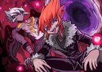 2boys colored_skin dual_persona evil_smile jacket jewelry leather leather_jacket male_focus multiple_boys nato_(maanguito) necklace no_mouth orange_hair purple_skin shingetsu_rei sideburns smile spiky_hair squatting tongue tongue_out vector_(yu-gi-oh!) violet_eyes white_hair yu-gi-oh! yu-gi-oh!_zexal