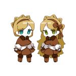 1boy 1girl aqua_eyes blonde_hair boots brown_capelet brown_headband brown_ribbon brown_skirt capelet chibi closed_mouth eyebrows_visible_through_hair full_body green_eyes hair_ribbon headband highres lobotomy_corporation long_hair long_sleeves matching_outfit nonga pleated_skirt ribbon skirt smile standing tiphereth_a_(lobotomy_corporation) tiphereth_b_(lobotomy_corporation) very_long_hair white_background