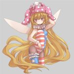 1girl absurdly_long_hair adapted_costume alternate_legwear american_flag_legwear bare_arms bare_shoulders black_legwear blonde_hair breasts clownpiece cropped_legs fairy_wings grey_background hat highres jester_cap leotard long_hair looking_at_viewer neck_ruff nibi pantyhose pink_eyes polka_dot simple_background sleeveless small_breasts solo star_(symbol) striped thigh-highs touhou very_long_hair wings wrist_cuffs