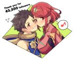 1boy 1girl bangs blush breasts brown_hair earrings face-to-face hair_ornament highres jewelry large_breasts mochimochi_(xseynao) musical_note pyra_(xenoblade) red_eyes redhead rex_(xenoblade) short_hair simple_background smile swept_bangs tiara white_background xenoblade_chronicles_(series) xenoblade_chronicles_2