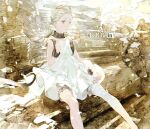 1girl absurdres artist_name bandaged_leg bandages bangs_pinned_back black_collar blonde_hair bloomers closed_mouth collar commentary_request copyright_name cuffs dress feet_out_of_frame floating_hair grey_eyes highres long_hair nier_(series) nier_reincarnation ruins second-party_source signature sitting sleeveless sleeveless_dress solo stairs taiki_(luster) twintails underwear watermark white_dress white_girl