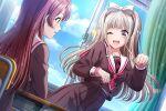 blush d4dj dress grey_eyes grey_hair long_hair shiratori_kurumi smile wink