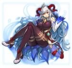 1girl ass bangs bare_shoulders bell black_gloves blue_hair bodystocking border breasts brown_bodysuit chinese_knot commentary cosplay cowbell crossed_legs curled_horns detached_sleeves dress eyebrows_visible_through_hair fire_emblem fire_emblem_heroes freyja_(fire_emblem) full_body ganyu_(genshin_impact) ganyu_(genshin_impact)_(cosplay) genshin_impact gloves goat_horns gold_trim gurimjang hair_between_eyes hand_on_own_chest high_heels highres horns invisible_chair large_breasts long_hair looking_at_viewer multicolored_hair outline parted_lips red_eyes red_horns sidelocks silver_hair sitting smile solo two-tone_hair vision_(genshin_impact) white_background white_dress white_footwear white_sleeves