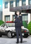 1girl black_footwear black_neckwear car full_body ground_vehicle hat highres holding holding_clothes holding_hat imanishi_tooru jacket koguma_(super_cub) leather_shoes motor_vehicle necktie official_art pants police police_car police_hat police_uniform solo super_cub toyota toyota_crown uniform