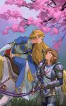1boy 1girl absurdres blonde_hair branch brown_hair cherry_blossoms dress eye_contact highres horse link long_hair looking_at_another looking_up malin_falch master_sword parted_lips petals pointy_ears princess_zelda riding saddle smile soldier's_set_(zelda) sword sword_behind_back the_legend_of_zelda the_legend_of_zelda:_breath_of_the_wild triforce weapon