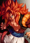 1boy abs blue_eyes brown_fur dragon_ball dragon_ball_gt fusion fusion_dance gogeta highres looking_at_viewer metamoran_vest monkey_boy monkey_tail muscular muscular_male no_nipples obi pants redhead relio_db318 sash smile solo spiky_hair super_saiyan super_saiyan_4 tail white_pants