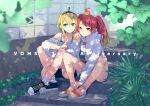 2girls ahoge amano_pikamee bangs bare_shoulders blonde_hair blue_eyes breasts eyebrows_visible_through_hair fingernails hair_between_eyes headband highres hikasa_tomoshika hood hoodie knees_apart_feet_together long_hair looking_at_viewer multicolored_hair multiple_girls outdoors oversized_clothes plant red_eyes redhead sandals shadow shoes short_hair shorts sitting small_breasts smile socks stairs sunlight teeth toenails toromera twintails virtual_youtuber voms wall