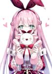 1girl arcaea bangs bow_hairband braid buttons covering_mouth detached_sleeves green_hair hairband heart kazunehaka long_hair long_sleeves looking_at_viewer pink_hair ribbon sidelocks stuffed_toy upper_body white_background