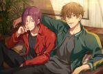 2boys arm_around_shoulder between_legs black_pants black_shirt brown_hair collarbone collared_jacket couch free! green_jacket grin hair_between_eyes hand_between_legs hand_on_own_cheek hand_on_own_face head_rest indoors jacket kirishima_natsuya knee_up looking_at_viewer male_focus matsuoka_rin multiple_boys on_couch open_mouth painting_(object) palm_tree pants picture_frame plant potted_plant red_eyes red_jacket redhead sharp_teeth shirt side-by-side sitting smile striped_pillow teeth track_jacket tree wooden_wall zattape