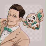 1boy 3kaku_mimi bow bowtie brown_eyes brown_hair buttons chromatic_aberration collared_shirt commentary crossover facial_hair gen_7_pokemon golden_kamuy green_neckwear hand_up highres jacket kikuta_mokutaro looking_back male_focus parted_lips pokemon pokemon_(creature) rowlet shirt short_hair smile starter_pokemon white_shirt