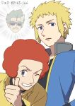 3boys afro black_choker black_shirt blonde_hair blue_eyes blue_jacket character_request choker commentary_request elite_four emphasis_lines flint_(pokemon) grey_eyes gym_leader hand_up highres jacket male_focus multiple_boys number open_clothes open_jacket parted_lips pokemon pokemon_(anime) pokemon_dppt_(anime) redhead sankaku shirt short_hair smile spiky_hair thumbs_up volkner_(pokemon) yellow_shirt