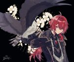 1boy animal_on_arm antenna_hair arm_up bangs bird bird_on_arm black_background black_gloves black_suit commentary diluc_(genshin_impact) eyebrows_visible_through_hair flower flower_request formal genshin_impact gloves hawk highres long_hair male_focus parted_lips ponytail red_eyes redhead serious shirt sidelocks signature simple_background solo suit white_flower white_shirt zoo_min