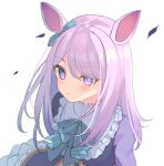 1girl bangs blue_bow blue_ribbon blush bow closed_mouth commission dress ear_ribbon eyebrows_visible_through_hair eyes_visible_through_hair long_hair looking_at_viewer mejiro_mcqueen miyanome purple_dress purple_hair ribbon simple_background skeb_commission solo umamusume violet_eyes white_background