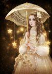 blonde_hair blush dress flower frills lipstick long_sleeves looking_at_viewer magic_iris makeup parasol see-through star_(symbol) umbrella