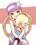 1boy 1girl ahoge alternate_costume alternate_hairstyle bangs baseball_cap blonde_hair blush bracelet clemont_(pokemon) clenched_teeth commentary_request eyelashes glasses green_eyes grin hat jewelry long_hair looking_at_viewer matsuno_opa medium_hair open_mouth overalls pokemon pokemon_(game) pokemon_xy serena_(pokemon) shiny shiny_hair sidelocks smile teeth twintails
