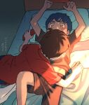 2boys alternate_costume bed blush brown_hair brown_shorts commentary head_on_pillow holding hop_(pokemon) indoors light_beam looking_at_another male_focus multiple_boys on_bed pillow pokemon pokemon_(game) pokemon_swsh red_shirt sankaku shirt short_hair short_sleeves shorts sweatdrop translation_request victor_(pokemon) yellow_eyes