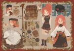 1girl ? absurdres agneta_(mountain_of_heaven) backpack bag black_headwear black_legwear black_skirt blush bottle character_name copyright_name dog earrings food frying_pan hair_bun hair_up highres holster jewelry juneliu927 knife lantern long_hair multiple_views pixiv_fantasia pixiv_fantasia_mountain_of_heaven pouch redhead rope sash sheath shirt skirt sleeveless spoken_question_mark standing thigh_holster thigh_strap toeless_legwear walking_stick white_shirt